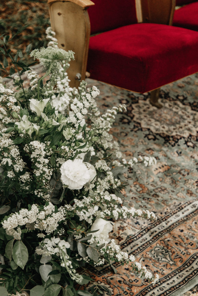 fleurs blanc et vert